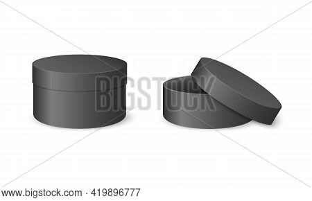 Black Round Cardboard Realistic Boxes. Closed And Open Empty Cylinder Packages Isolated On White Bac