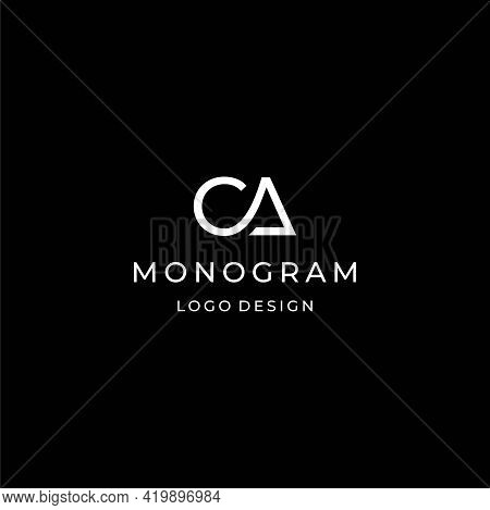 A Modern And Luxurious Logo About The Letters C And A Designed From One Geometric Line. Eps 10, Vect
