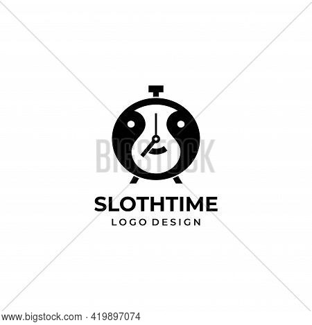 A Very Modern And Unique Logo That Combines Time And Laziness. Eps10, Vector.