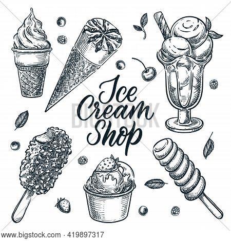 Ice Cream Shop Design Elements Set Isolated On White Background. Vector Hand Drawn Sketch Illustrati