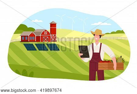 Country View With Man Farmer In Straw Hat Holding Wooden Crate With Ripe Vegetables And Tablet Pc Ve