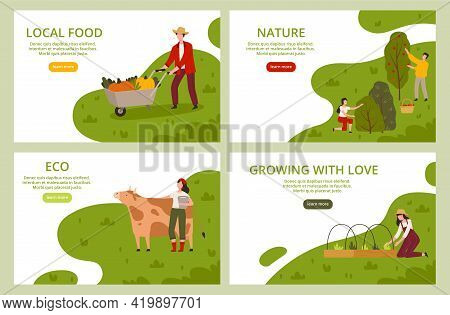 Organic Farming And Local Food Landing Page Template With Farmers Harvesting, And Cultivating Plants