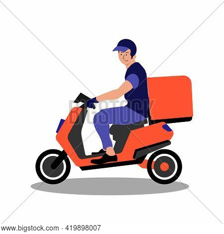 Delivery Service On Red Scooter, Motorcycle. Fast Worldwide Shipping Eps
