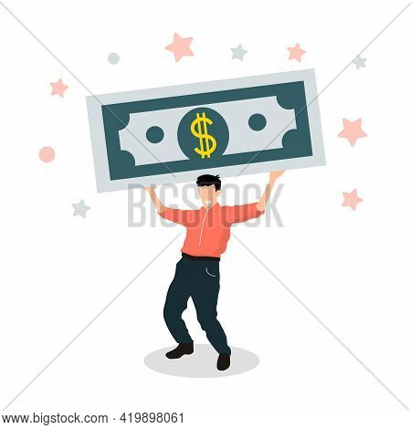 Human Character Carrying Big Dollar Gift. Business Man Keeps Money. Success Financial Rich Concept.