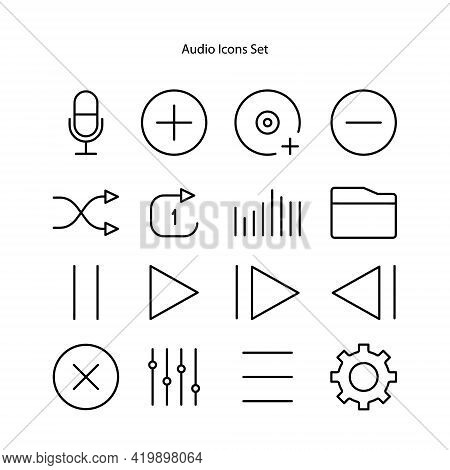 Audio Icons Set Isolated On White Background From User Interface Collection. Audio Icon Thin Line Ou