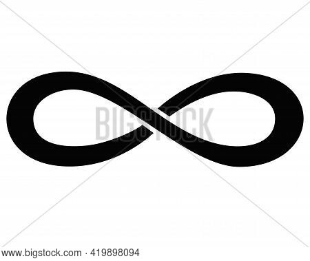 Infinity Sign - Vector Silhouette Illustration For Logo Or Pictogram. Infinity Symbol Is A Sign Or I