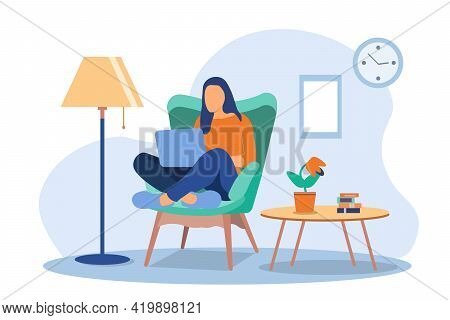 Girls Working At Home. Young Woman Sitting On A Chair And Using Laptop. Freelance, Self Employed, Fr