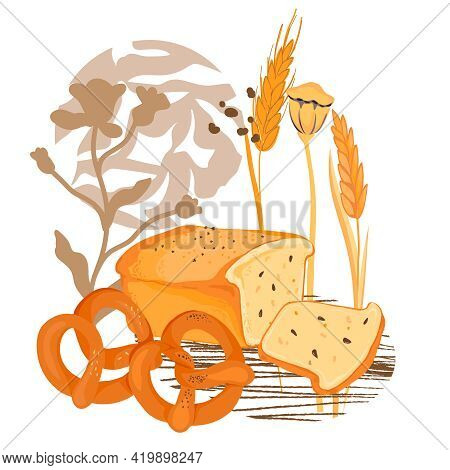 Hand Drawn Bread And Cereal Plants With Decorative Elements. Bakery Emblem And Bread Packaging Print