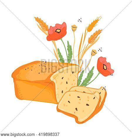Hand Drawn Loaf Of Wheat Bread, Poppy Flowers And Cereal Plants For Bakery And Bread Packaging, Flat