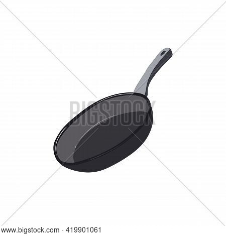 Frying Pan. Utensils For Food Judgment. Fried Foods. Stock Vector Illustration Isolated On White Bac