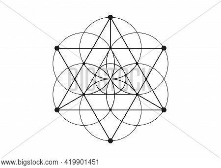 Flower Of Life Symbol Metatron Merkaba Sacred Geometry. Logo Icon  Geometric Mystic Mandala Of Alche