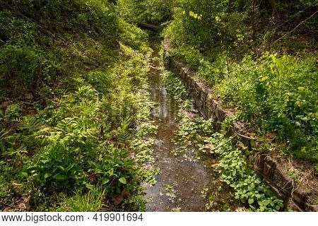 Gorgeous Image Of A Green Nature Scene With A Man-made Canal Waterway Through The Lush Woodland. Fal