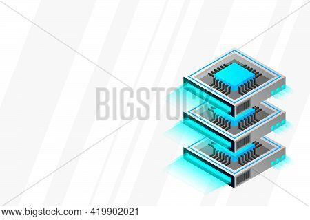 Quantum Computer, Large Data Processing, Server Room, Artificial Intelligence, Data Base Concept