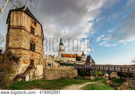 Old Carved Wooden Jurkovic Bridge With Charming Castle Tower In Nove Mesto Nad Metuji, Pearl Of East