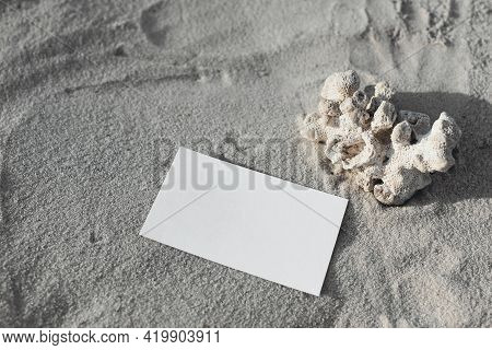 Summer Tropical Stationery Mock-up. Blank Greeting, Business Card On Beach Sand. Invitation Mockup W