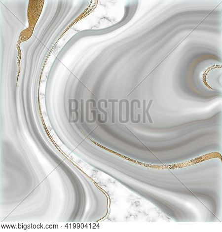 Beautiful Grey Abstract Marble Agate With Golden Veins. Abstract Marbling Agate Texture And Shiny Go