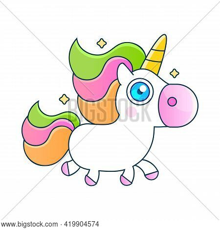 Illustration Of Very Cute Fairytale Pony Greeting Card With Inscription You Are Magic. Vector