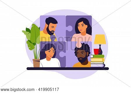 Business Team Putting Together Puzzle. Cartoon Partners Working In Connection. Symbol Of Teamwork, C