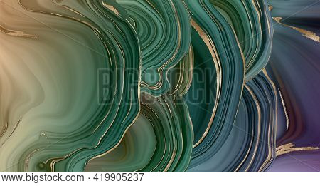 Agate Slice, Fluid Marble, Abstract Background With Gold Stripe Texture. Abstract Fluid Stone Textur