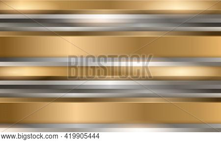 Abstract Luxury Gold And Silver 3d Vector Background With Metallic Three-dimensional Shapes. Metalli