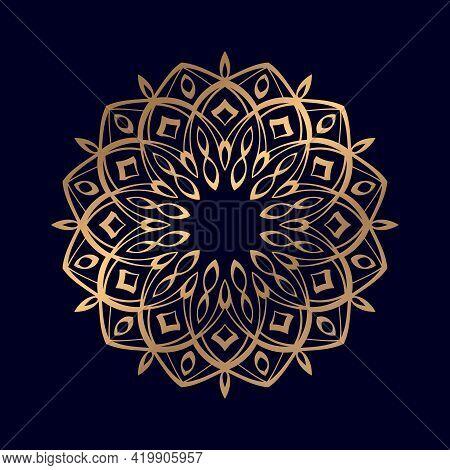Abstract Beautiful Luxury Mandala Vector For Coloring Book. Golden Arabesque Ornamental Mandala Desi