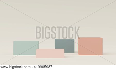 3d Render Of Abstract Minimal  Display Podium For Showing Products, Cosmetic Presentation And Mock U