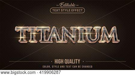 Editable Text Style Effect - Shinny Titanium Text Style Theme. Graphic Design Element.