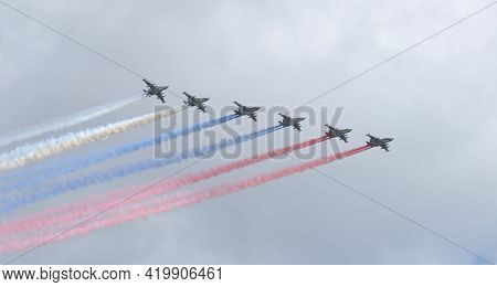Moskow, Russia - May 5, 2021: Six Russian Military Aircraft Fly In The Sky. Fighters In The Sky Over