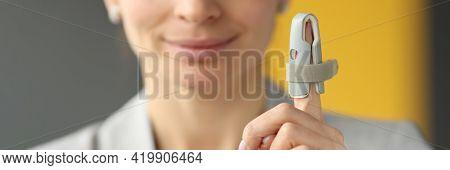 Orthopedic Orthosis Fixing Joints Of Finger Hand Closeup