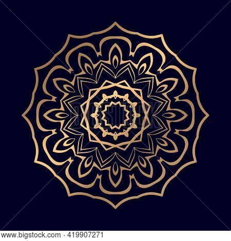 Mandala Islamic Background With Golden Arabesque Ornamental Background. Wedding Card Cover Weave Des