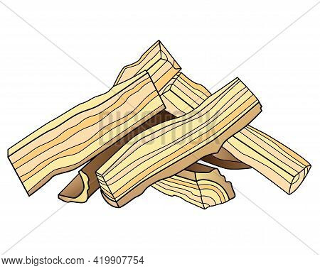 Firewood - Vector Linear Picture For Coloring. Outline. Logs Cut Into Four Parts And Folded Into A H