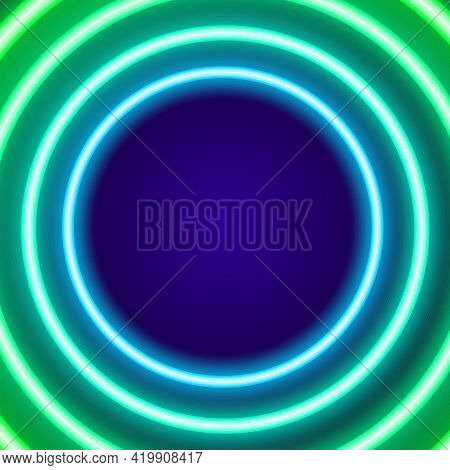 3d Neon Colored Circles For Decoration Design. Business Card. Blue Color.isolated Colorful Neon Roun