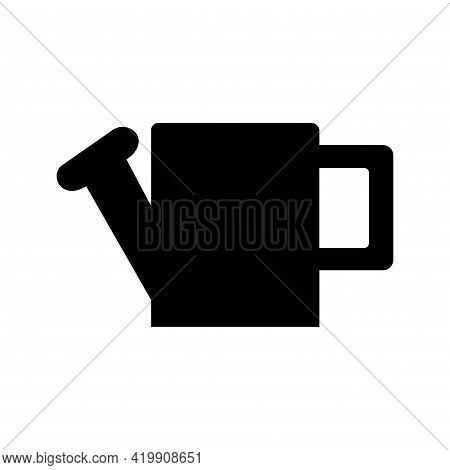 Black Silhouette Of A Large Rectangular Watering Can For Watering, On A White Background