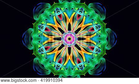 Pattern As Flower Or Star. Abstract Bg With Grows Rainbow Colors Lines Pattern Like Symmetrical Radi