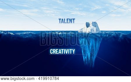 Discover Your Hidden Creativity. Motivational Concept With Iceberg - Bigger Part Representing Undisc