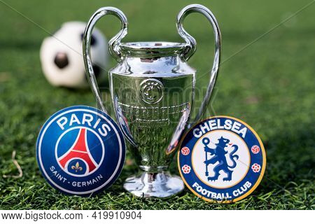 April 16, 2021 Moscow, Russia. The Uefa Champions League Cup And The Emblems Of The Football Clubs P