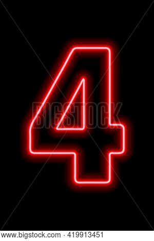 Neon Red Number 4 On Black Background. Learning Numbers, Serial Number, Price, Place. Vector Illustr