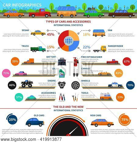 Types Of Cars And Accessories Infographic Set With Sedan Truck And Van Flat Vector Illustration