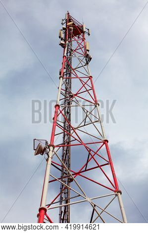 Gps Antenna Tower . Cellular Tower Equipped With Gps, 5g Technologies