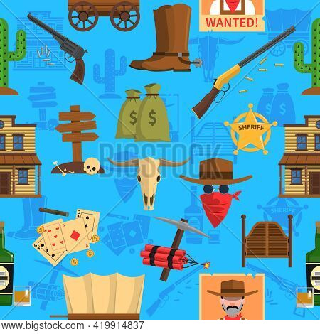 Cowboy Seamless Pattern With Animal Skull Dinamite And Saloon Flat Vector Illustration