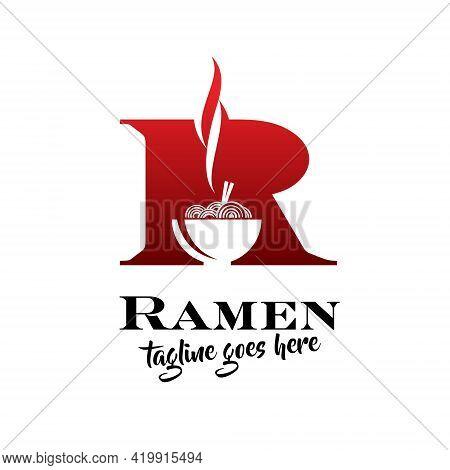 R Ramen Noodle Vector Illustration Food Theme Symbol.