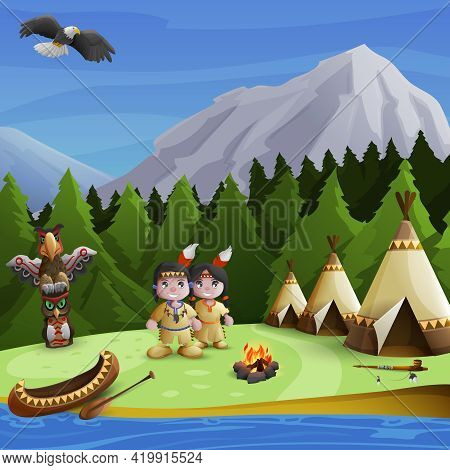 Native American Concept With Cartoon Persons Teepees And  Mountains Background Vector Illustration