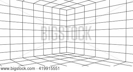 Perspective Grid Background. Network Connection Structure. Abstract Mesh Background. Vector Illustra