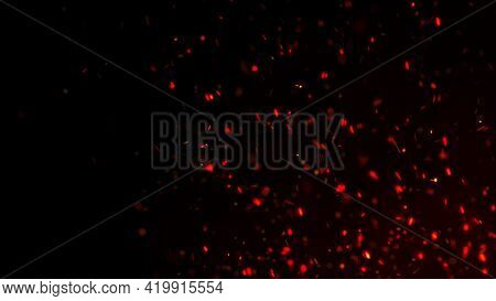 Fire Sparks Background. Fire Flying Sparks. Burning Red Sparks. Abstract Dark Glitter Fire Particles