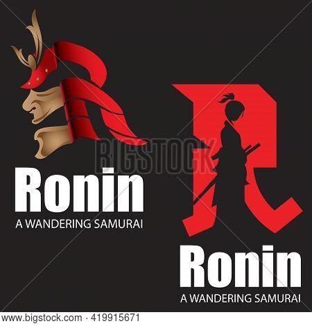 R Logo, Letter Based R Icon Wandering Japanese Swordman Or Ronin Warrior