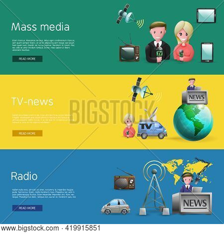 Horizontal Banners Set Of Mass Media Industry With News Presenters Tv And Radio Broadcasting Cartoon