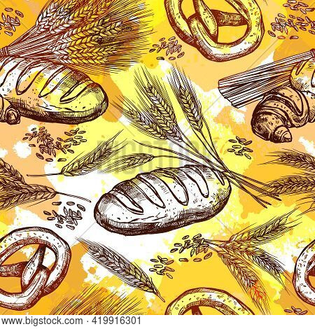 Wheat And Bread Products Seamless Pattern Hand Drawn Vector Illustration