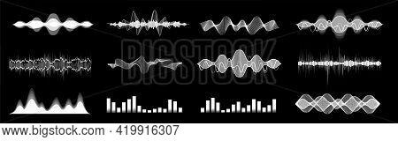 Diverse Set Sound Waves, Equalizer, Voice Assistant. Microphone Voice Control Technology, Voice And