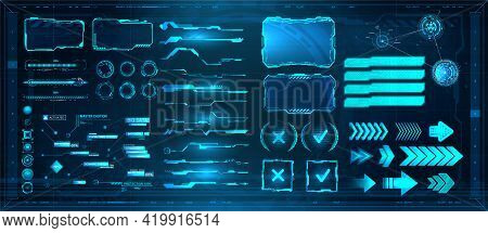 Sci-fi Digital Interface Elements Hud For Game, Ui, Ux, Kit. Futuristic User Interface, Frame Screen