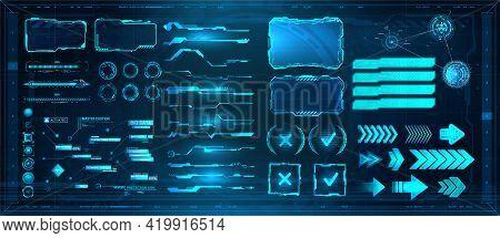 Sci-fi Digital Interface Elements Hud For Game, Ui, Ux, Kit. Futuristic User Interface, Frame Screen